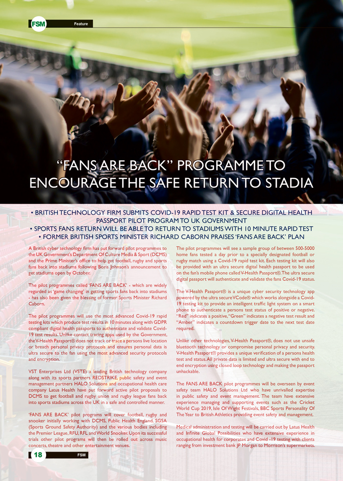 """Fans Are Back"" Programme To Encourage The Safe Return To Stadia page 1"
